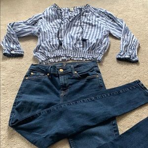 7 for all mankind skinny jeans & F21 shirt outfit